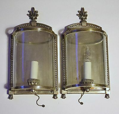 Curved Glass & Bronze Pair E. F. Caldwell Silver Plate Sconces
