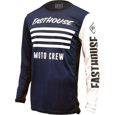 NEW Fasthouse MX Gear L1 Stripes Navy Blue Vented Motocross Jersey