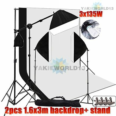 2025W Photo Studio Softbox Lighting Boom Light Black White Backdrop Stand Kit