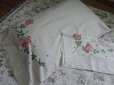 Pair of Vintage  Pillowcases with hand embroideryRoses