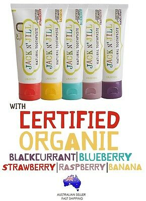 Save! 5 x JACK N JILL Natural Toothpaste Organic safe to swallow ALL Flavours