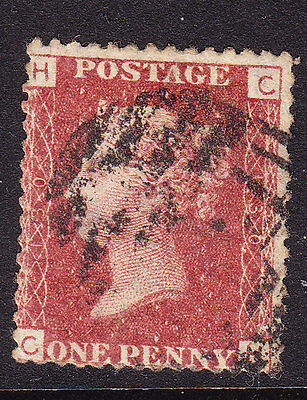 GB  1858 - QV - 1d Red Plate 130 - Position H-C