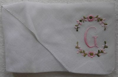 Ladies White Handkerchief Initial Letter ' G ' - Look!