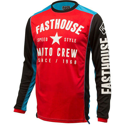 NEW Fasthouse MX Gear L1 Speed Style Red Electric Blue Vented Motocross Jersey