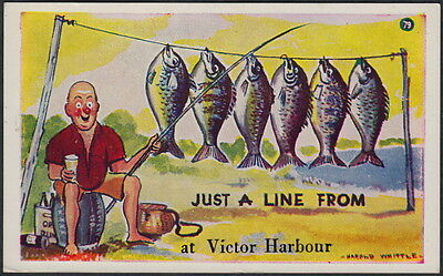 """4093)   Australian Comic Postcard - """"just A Line From"""" Victor Harbour"""