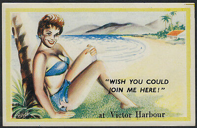 4131a)   AUSTRALIAN COMIC PC -WISH YOU COULD JOIN ME HERE at VICTOR HARBOUR