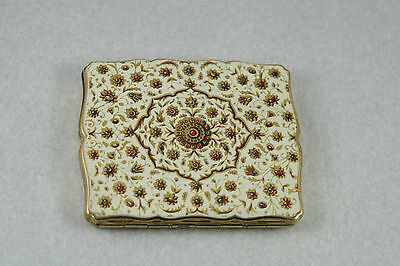 Vtg 50s Stratton Compact White Enamel With Centre Medallion Boxed