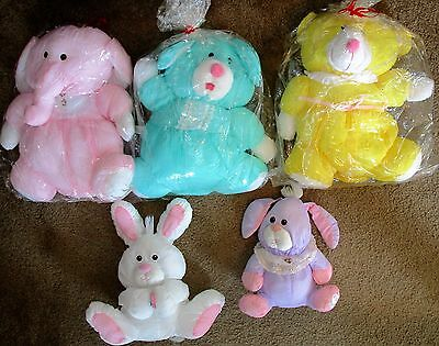 VTG 1980s FISHER PRICE PUFFALUMPS BUNNY (2) & 3 CLONES ELEPHANT BEAR RABBIT VGC