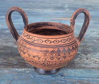 Attic Museum Reproductions Greek Red Clay Amphora Vase Urn Geometric Design