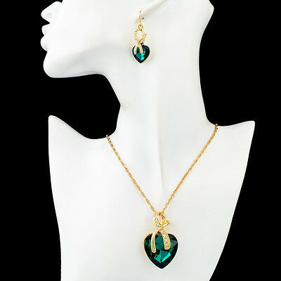 Gold Plated Jewelry Sets Women Crystal Heart Necklace Earrings Bridal Wedding B