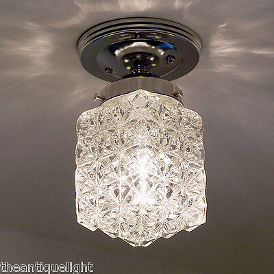 713 Vintage Geometric Ceiling Light Lamp Fixture chrome bath hall more