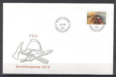 Aland 608 FDC 1987 cover 1v fire firefighters CV 7 eur