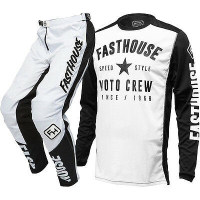 NEW Fasthouse Mx Speed Style Jersey Grindhouse Pants White Motocross Gear Set