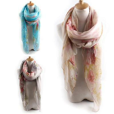 Women Voile Butterfly Printed Scarf Shawl Wrap Large Elegant Boho Long