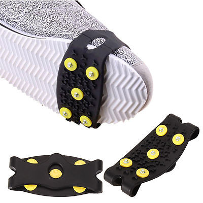 1 Pair 5 Stud Climbing Anti Slip Snow Ice Grips Spikes Crampon Cleat Shoes Cover