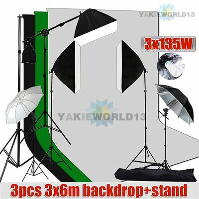 2025W Studio Softbox Umbrella Lighting Boom Light 3x6m Muslin Backdrop Stand Kit