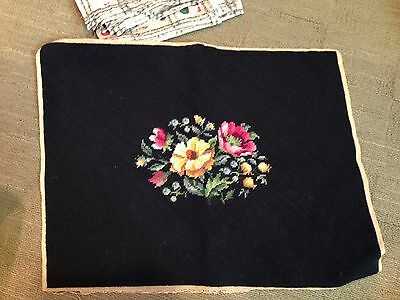 Completed needlepoint seat cover pillow framing floral black background wool