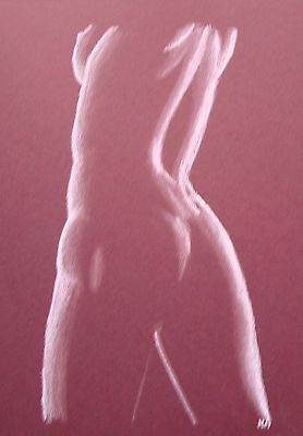 Female Nude 27 - Pastel Drawing Original - Burgandy - Studio Angela