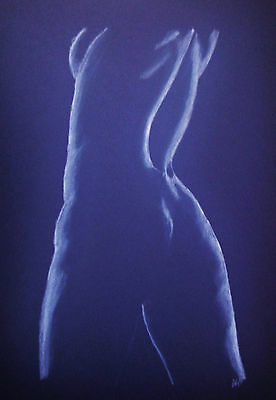 Female Nude 27 - Pastel Drawing Original - Blue - Studio Angela