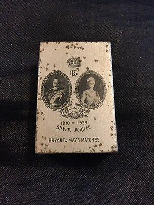 Vintage Bryant & May's tin matchbox holder.  1935 Silver Jubilee King George.