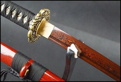 electropalted red blade Japanese sword full tang folded steel