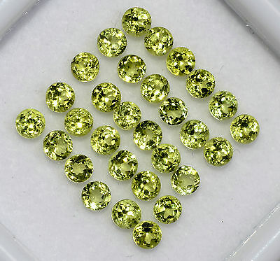 Natural Peridot Round Cut 3.00 mm 25 Pcs 3.69Cts Lustrous Parrot Green Gemstones