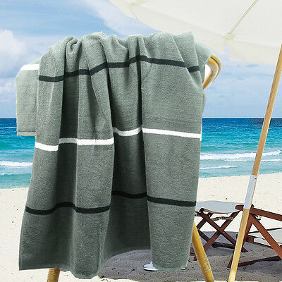 Ramesses Cotton Jacquard Beach Towel, Luxury Extra Large 180x100cm, Charcoal
