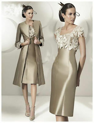 TH Satin Mother Of The Bride Free Jacket Champagne  Applique Sheath Mother Dress