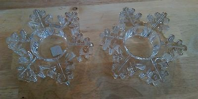 set of 2 glass tealight candle holders in the shape of snowflakes