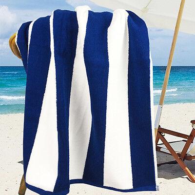 Ramesses Cotton Jacquard Beach Towel, Luxury Extra Large 180x100cm, Navy