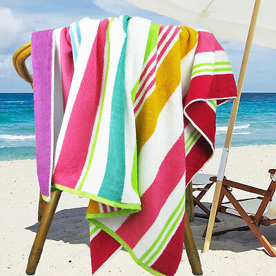 Ramesses Cotton Jacquard Beach Towel, Luxury Extra Large 180x100cm, Rainbow