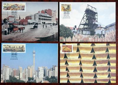 South Africa (RSA) 1986 'Cent of Johannesburg' Set of 4 Maximum (Maxi) Cards