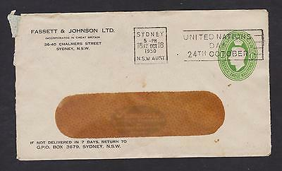 AUSTRALIA KGVI 1 1/2d GREEN OVAL PTPO FASSETT & JOHNSON 1950