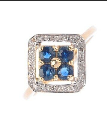 Beautiful Solid 9ct Gold Sapphire and Diamond Ring, size L Christmas gift