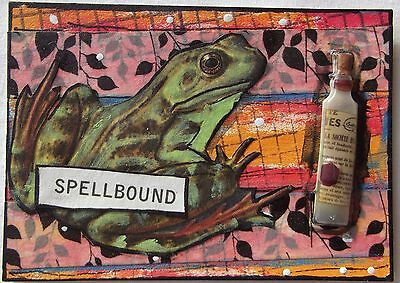 SPELLBOUND Original Art Mixed Media Collage ACEO vintage Venecia OUTSIDER frog