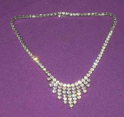 ANTIQUE ART DECO 1930s STUNNING STERLING SILVER CRYSTAL CHOKER NECKLACE