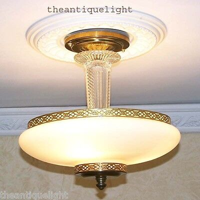 809 Vintage 30's 40s CEILING LIGHT lamp chandelier fixture glass shade beige