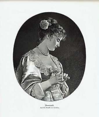 """""""Blumenorafel"""" (Girl with Daisy) Engraved by Richard Brendamour after E. Unders"""