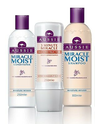 3 pack Aussie Miracle Moist Shampoo + Conditioner + 3 minute Reconstructor