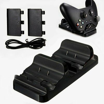 Dual Charging Dock Controllers Charger +2 x Rechargeable Batteries For Xbox One