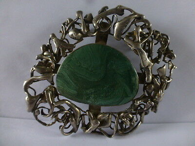 large VINTAGE 1970s SOLD SILVER & MALACHITE STONE BROOCH fully hallmarked