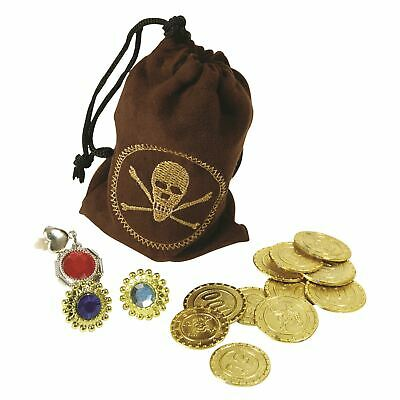 Pirate Buccaneer Fancy Dress Costume coin money Pouch Jewellery Gems in BAG