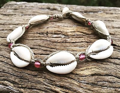 Hand Made Hemp Macrame Anklet with Cowrie Shells & Pink Glass Beads, Bohemian