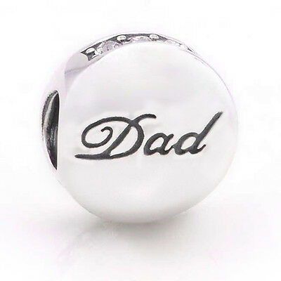 DAD Solid Sterling Silver Father Word Message Sparkling Charm Bead for Bracelet