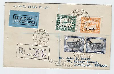 South West Africa SWA REGISTERED FIRST FLIGHT COVER WINDHOEK/KIMBERLY 1932