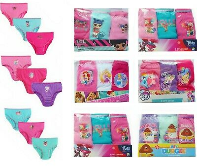 Girls Character Pants Knickers 3 PACK