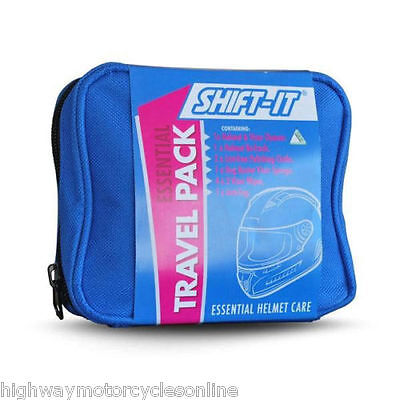 Shift It Motorcycle Motorbike Cleaning Travel Pack Helmet Care anti fog 11 items