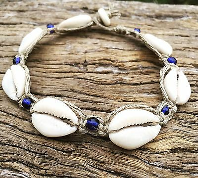 Hand Made Hemp Macrame Anklet with Cowrie Shells & Navy Blue Glass Beads