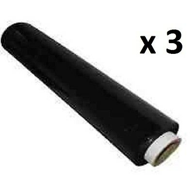 3 x STRONG ROLLS BLACK PALLET STRETCH SHRINK WRAP PARCEL PACKING CLING FILM FAST