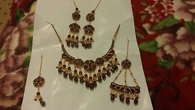 Bollywood Design 5 pc maroon and gold  Bridal Necklace Jewellery Set